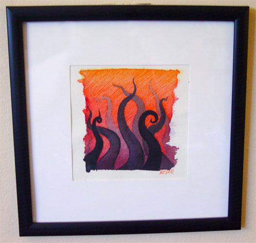 Tentacle Deeps 5, framed art by Amy Crook