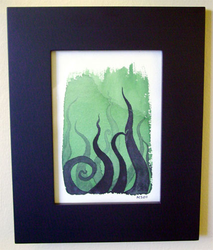 Tentacle Deeps 7, framed art by Amy Crook