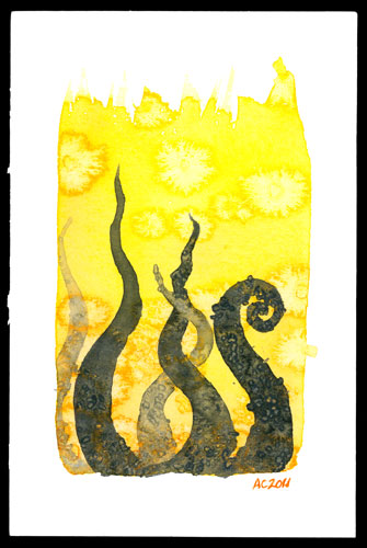 Tentacle Deeps 9 watercolor by Amy Crook