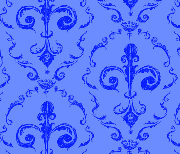 Victorian Wallpaper 1, blue on blue, by Amy Crook