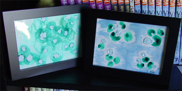 Water Lilies 2, framed, watercolor by Amy Crook