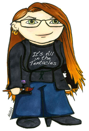 Cartoon self-portrait by Amy Crook