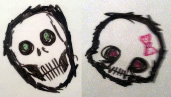 Whiteboard Skulls by Amy Crook